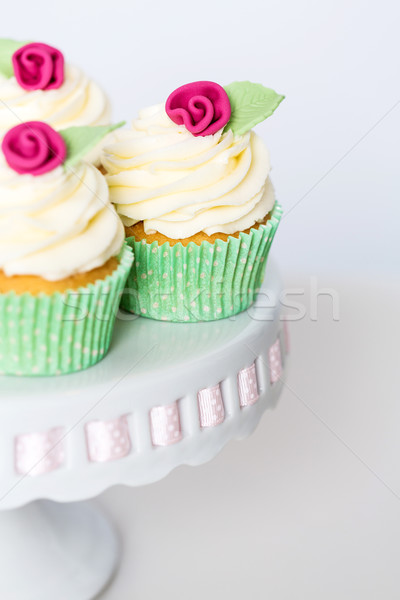 Floral cupcakes on a cakestand Stock photo © fantasticrabbit