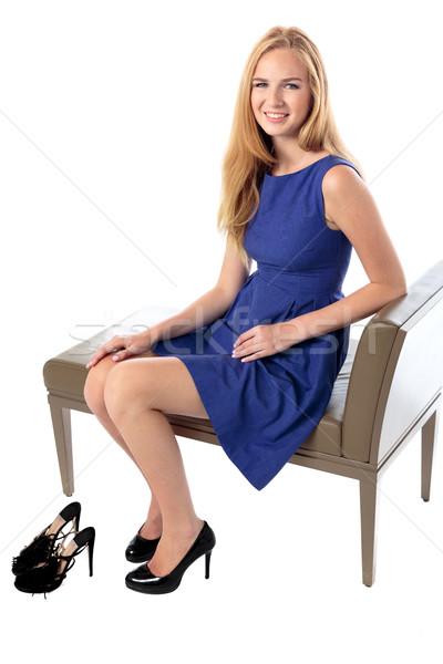 элегантный модный сидят скамейке сиденье Сток-фото © fantasticrabbit