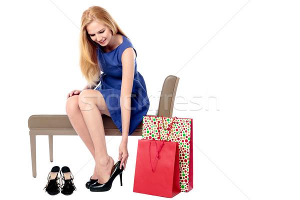Frau Paar High Heels glamourös stylish Stock foto © fantasticrabbit