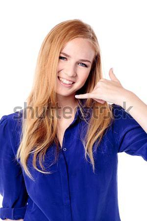 улыбаясь жест красивой Сток-фото © fantasticrabbit