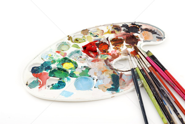 Palette and brushes Stock photo © farres