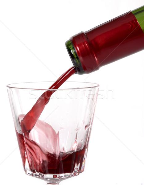 şarap içmek cam şarap şişesi şişe kırmızı Stok fotoğraf © farres