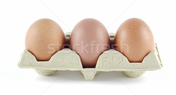 Trois oeufs oeuf alimentaire poulet shell Photo stock © farres