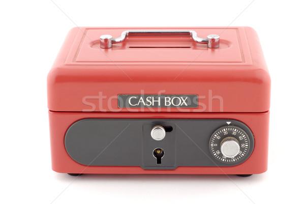 Metalen Rood spaarvarken gebruikt oude Stockfoto © farres