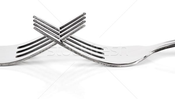 Affectueux fourche blanche macro isolé gris Photo stock © farres