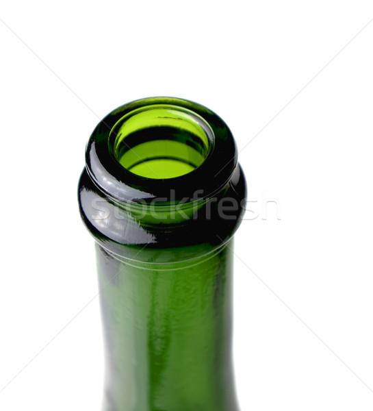 Stockfoto: Champagne · fles · nek · macro · witte · glas