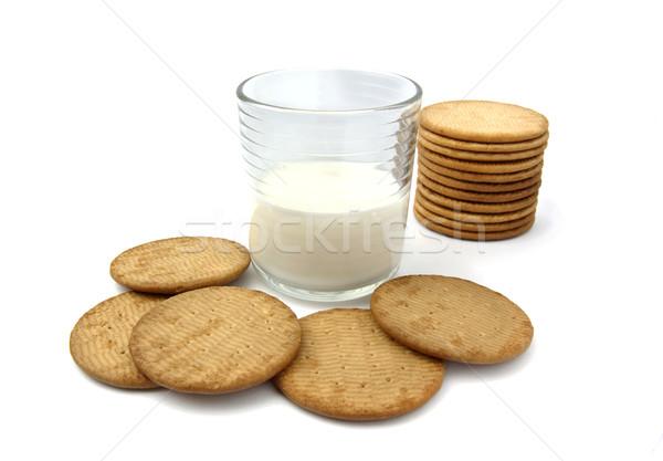 Kurabiye süt natürmort gıda cam arka plan Stok fotoğraf © farres