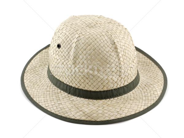 Paille chapeau de paille été blanche mode tissu Photo stock © farres