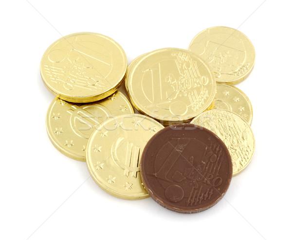 çikolata madeni para euro beyaz para gıda Stok fotoğraf © farres