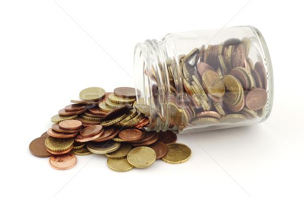 économies pièces verre pot euros blanche Photo stock © farres