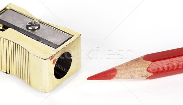 Potlood puntenslijper Rood school objecten Stockfoto © farres