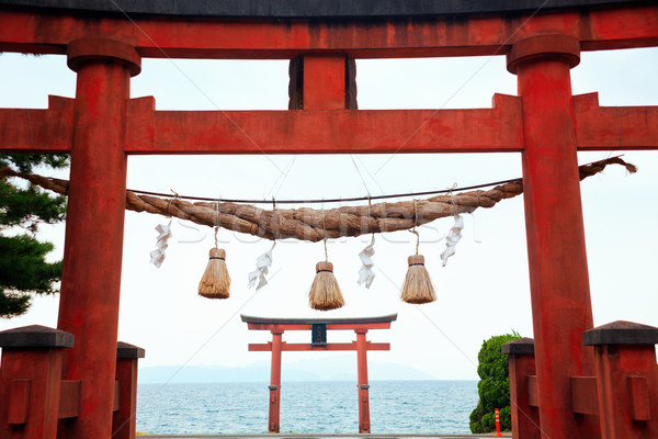 Temple Gate on the Lake Biwa Stock photo © fatalsweets