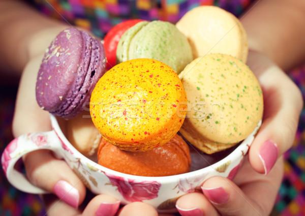 Lány színes fiatal nő édes macaron étel Stock fotó © fatalsweets