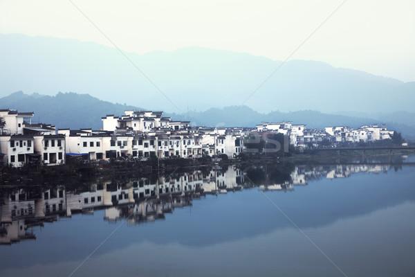 中国 国 町 建物 日没 木 ストックフォト © fatalsweets