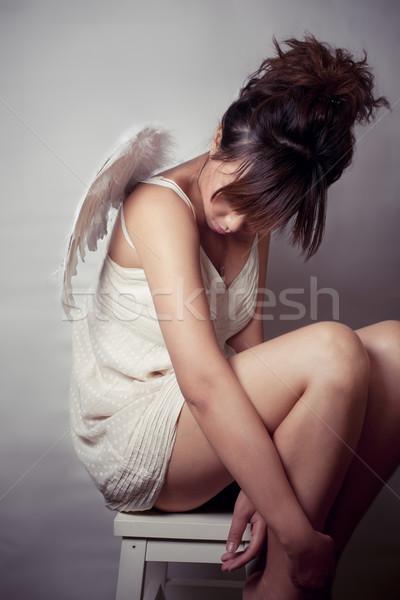 Stock fotó: Légy · messze · lány · visel · fehér · felső