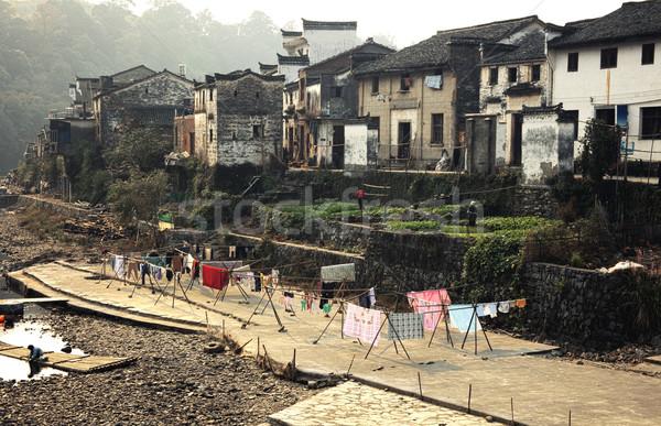 中国 国 町 建物 日没 ホーム ストックフォト © fatalsweets