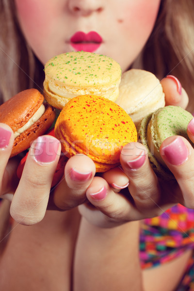 Girl Loves Colorful Macaroons Stock photo © fatalsweets