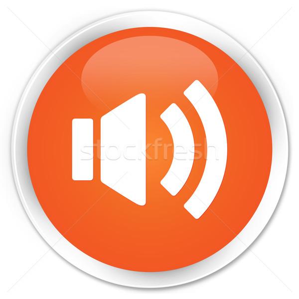 Hangerő ikon narancs gomb háló rádió Stock fotó © faysalfarhan