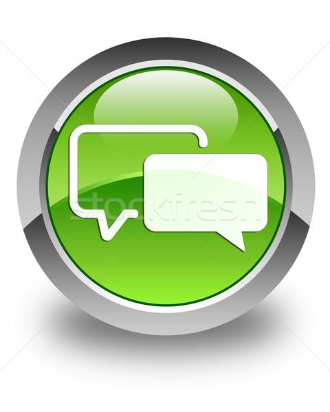 Testimonials icon glossy green round button Stock photo © faysalfarhan