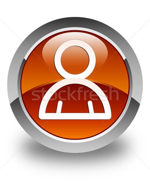 Member icon glossy brown round button Stock photo © faysalfarhan
