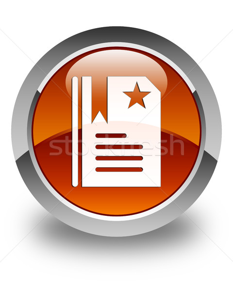 Bookmark icon glossy brown round button Stock photo © faysalfarhan