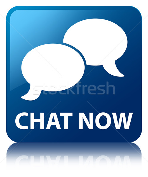 Chat now glossy blue reflected square button Stock photo © faysalfarhan