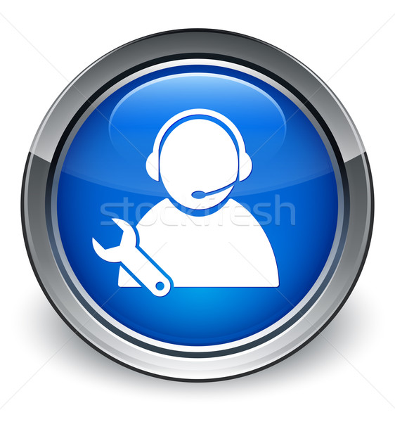 Tech support customer care service (wrench) icon glossy blue but Stock photo © faysalfarhan