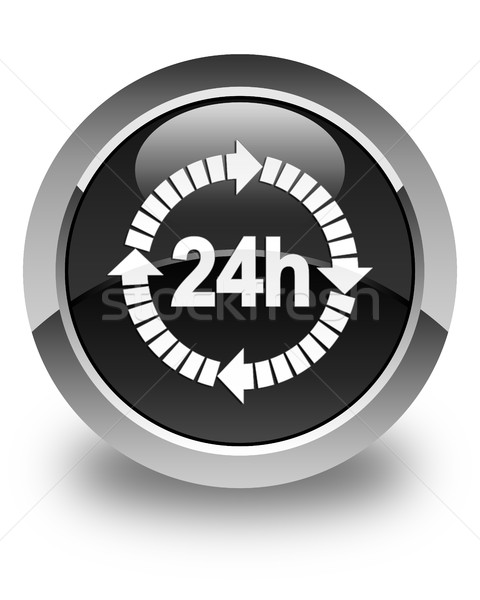 24 hours delivery icon glossy black round button Stock photo © faysalfarhan