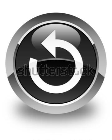 Reply arrow icon glossy black round button Stock photo © faysalfarhan