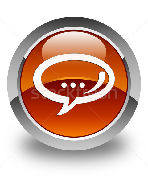 Chat icon glossy brown round button Stock photo © faysalfarhan