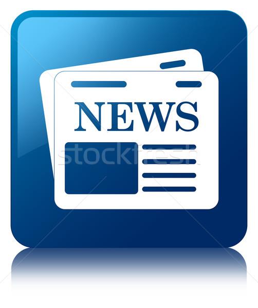 Krant icon glanzend Blauw vierkante knop Stockfoto © faysalfarhan