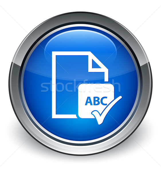 Spell check document abc icon glossy blue button Stock photo © faysalfarhan