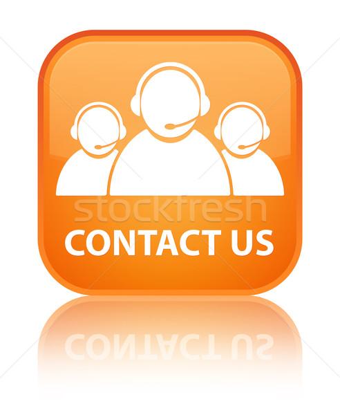Contact Us (customer care team) glossy orange reflected square b Stock photo © faysalfarhan