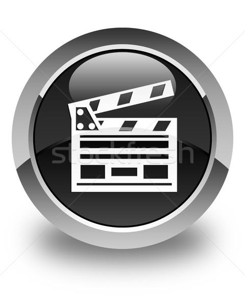 Cinema clip icon glossy black round button Stock photo © faysalfarhan