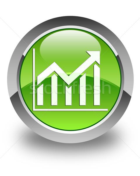 Statistiek icon glanzend groene knop markt Stockfoto © faysalfarhan