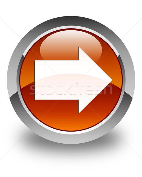 Volgende pijl icon glanzend bruin knop Stockfoto © faysalfarhan