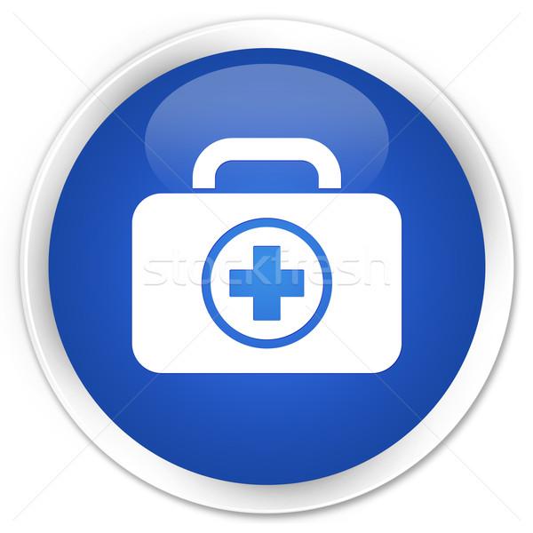 Foto stock: Primeros · auxilios · icono · azul · botón · cruz