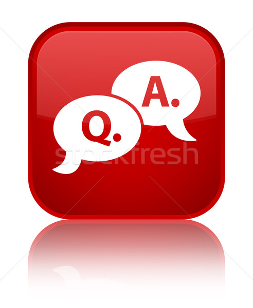 Question answer icon glossy red reflected square button Stock photo © faysalfarhan