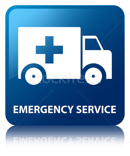 Stock photo: Emergency service glossy blue reflected square button