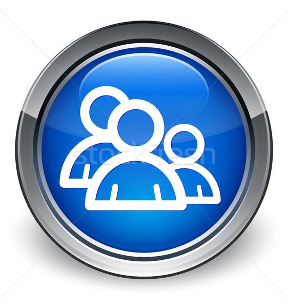 Forum personnes icône bleu bouton Photo stock © faysalfarhan