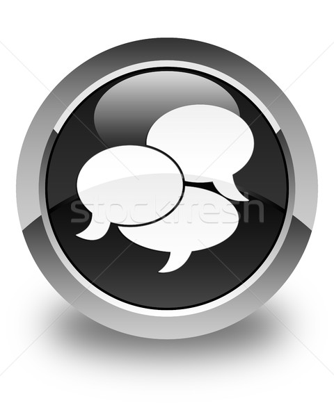 Comments icon glossy black round button Stock photo © faysalfarhan