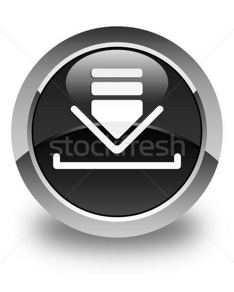 Download icon glossy black round button Stock photo © faysalfarhan