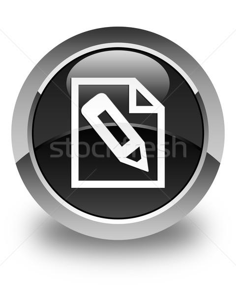 Pencil in page icon glossy black round button Stock photo © faysalfarhan