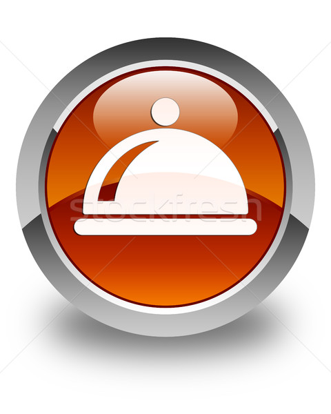 Food dish icon glossy brown round button Stock photo © faysalfarhan