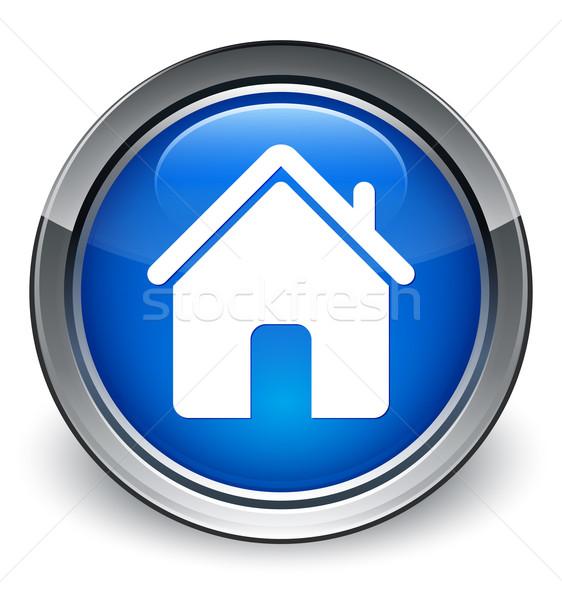 Otthon ikon fényes kék gomb nem Stock fotó © faysalfarhan