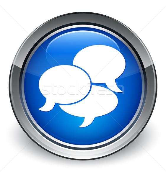 Testimonials icon glossy blue button Stock photo © faysalfarhan