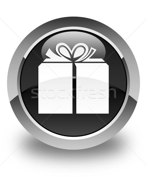 Gift box icon glossy black round button Stock photo © faysalfarhan