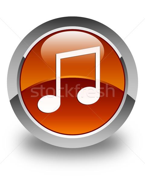 Music icon glossy brown round button Stock photo © faysalfarhan