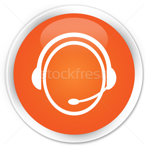 Stock photo: Customer service icon orange button