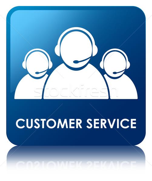 Stok fotoğraf: Müşteri · hizmetleri · parlak · mavi · kare · düğme · iş